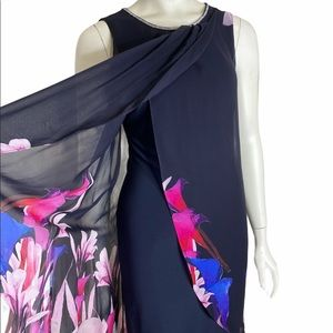 HP 🎉 FRANK LYMAN Blue Black Floral Dress 6 NWT